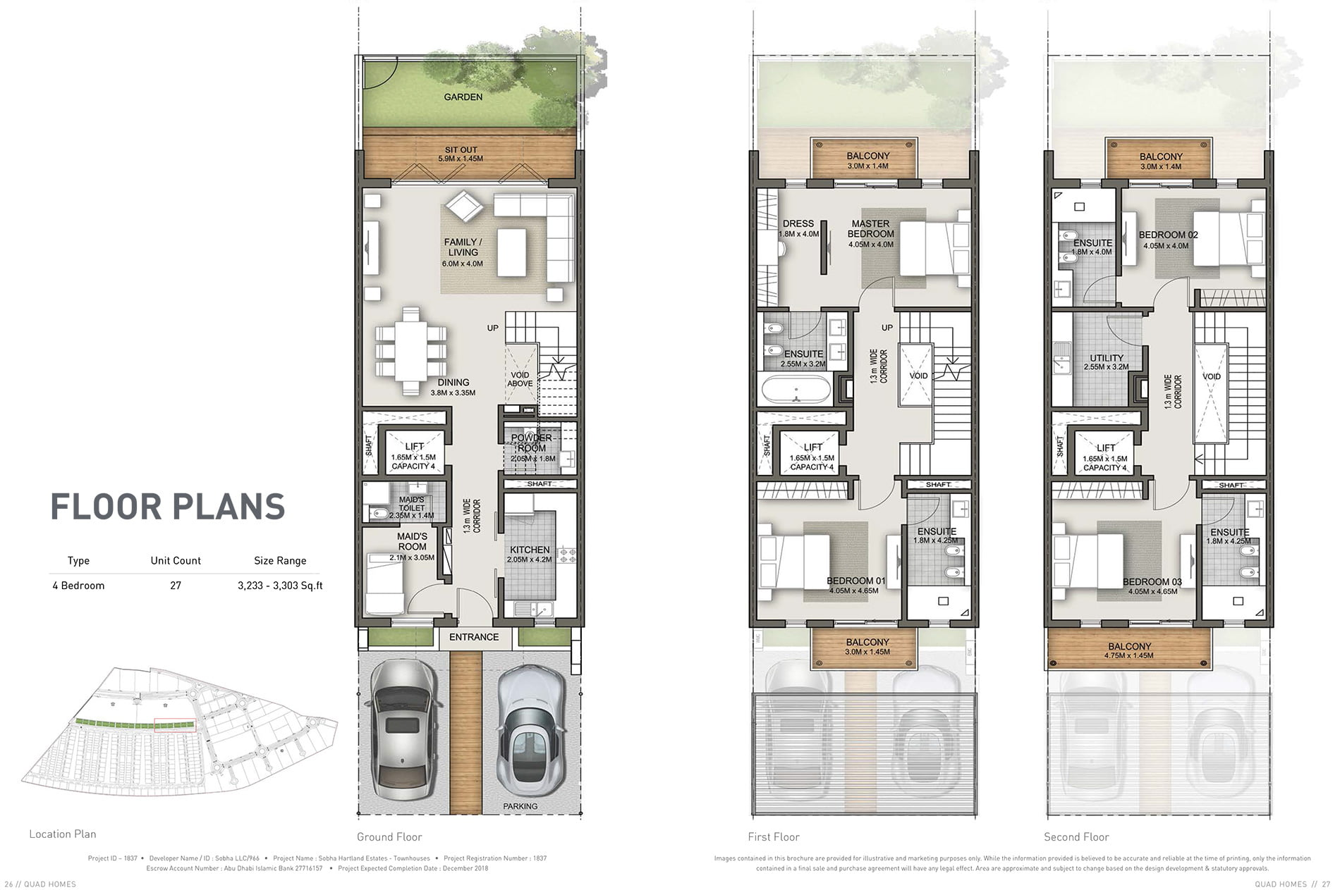 Quad homes sobha hartland floor plans dubai off plan for Quad apartment plans