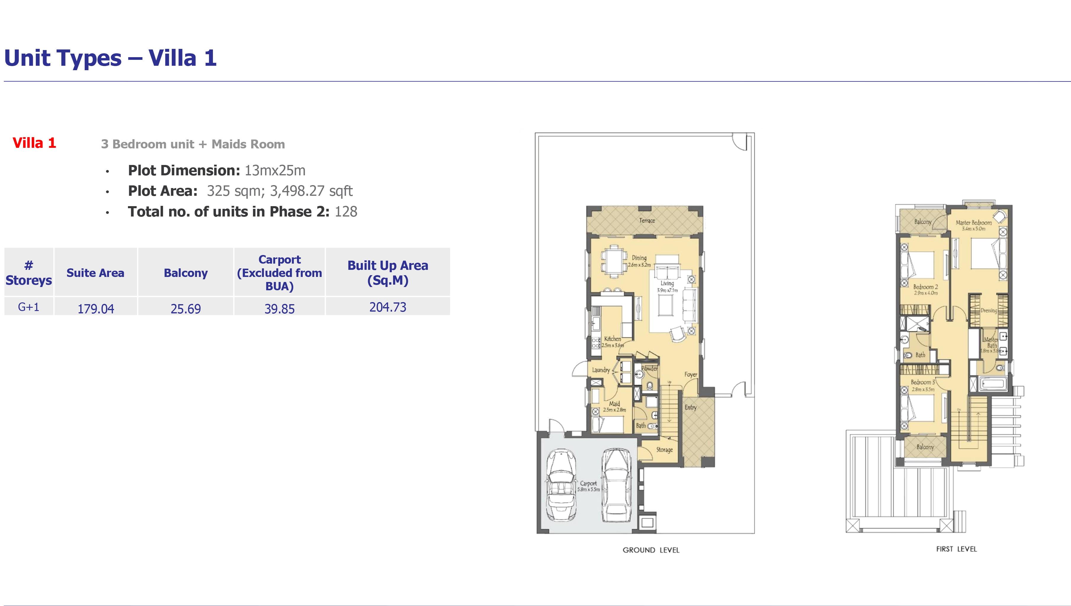 villa 1 - Villanova Phase 2 Floor Plans