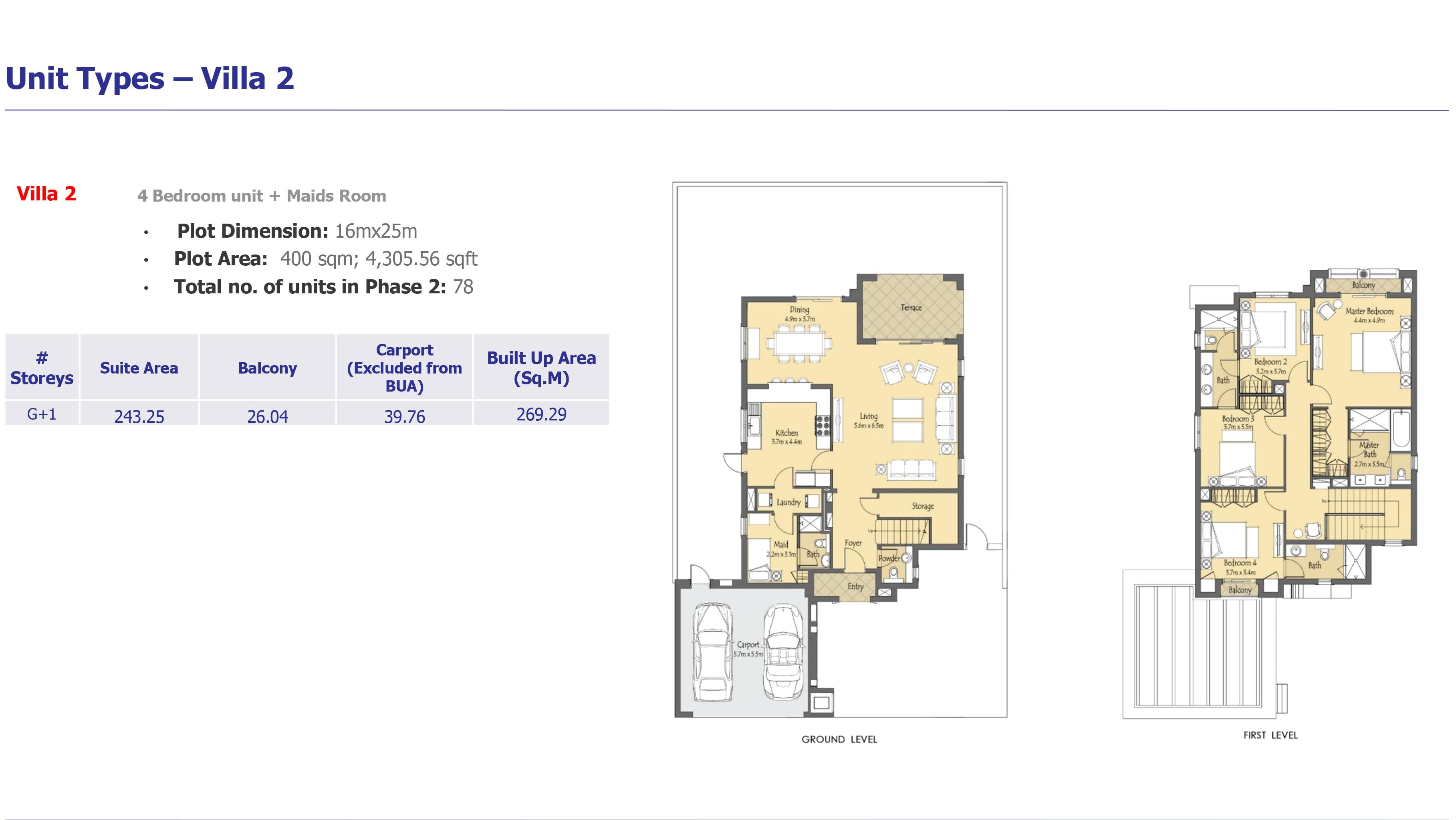 villa 2 - Villanova Phase 2 Floor Plans