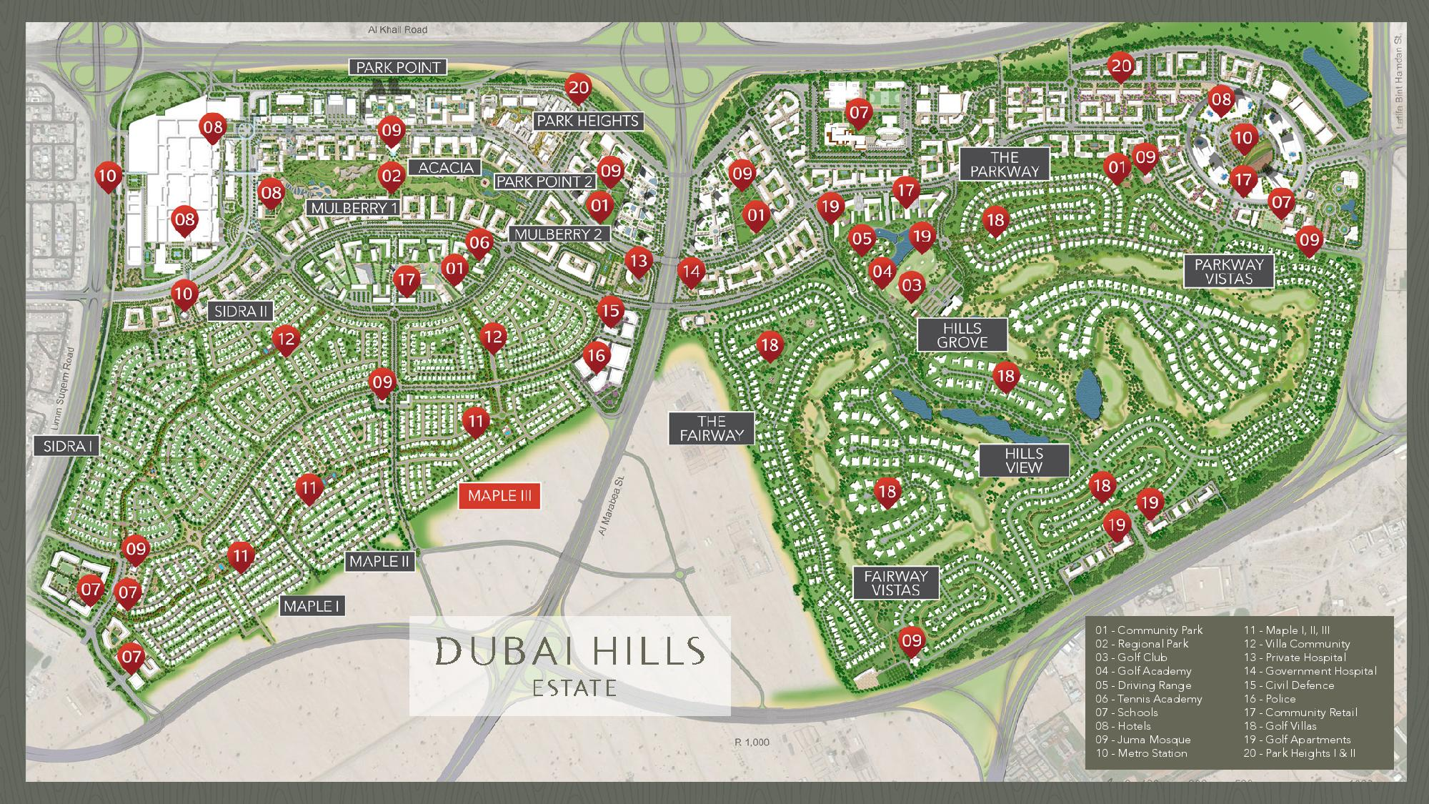Location Map - Maple III By Emaar - Dubai OFF Plan Properties on