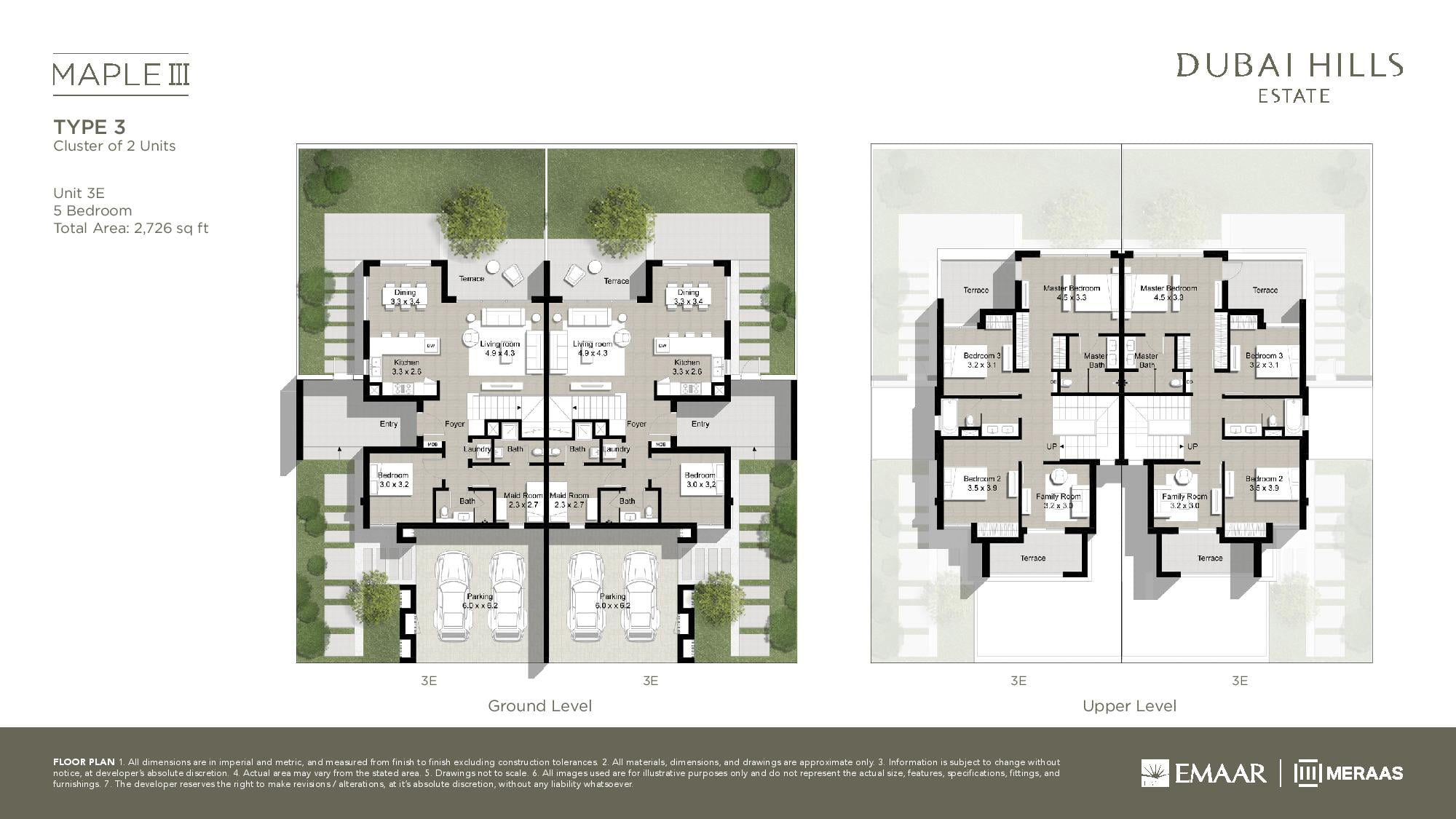 Floor plans maple iii by emaar dubai off plan properties for Townhouse layout 3 bedrooms