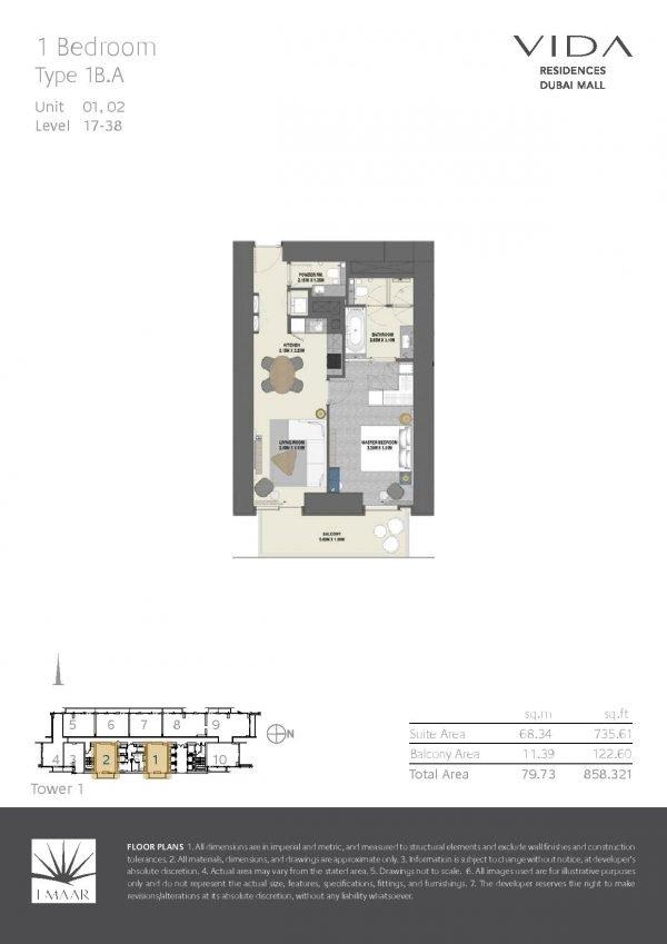 Vida Residences Dubai Mall 1BR A 600x849 - Floor Plans - Vida Residences Dubai Mall