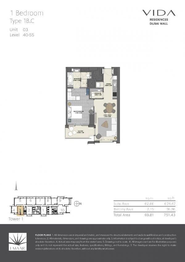 Vida Residences Dubai Mall 1BR C 600x849 - Floor Plans - Vida Residences Dubai Mall