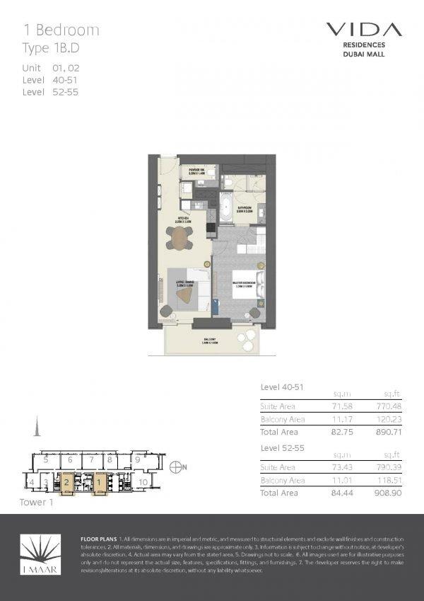 Vida Residences Dubai Mall 1BR D 600x849 - Floor Plans - Vida Residences Dubai Mall