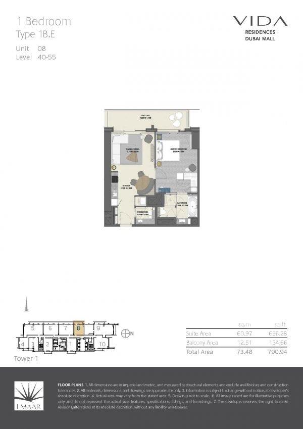 Vida Residences Dubai Mall 1BR E 600x849 - Floor Plans - Vida Residences Dubai Mall