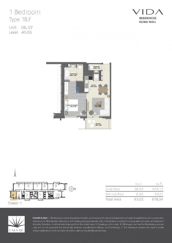 Vida Residences Dubai Mall 1BR F 600x849 - Floor Plans - Vida Residences Dubai Mall