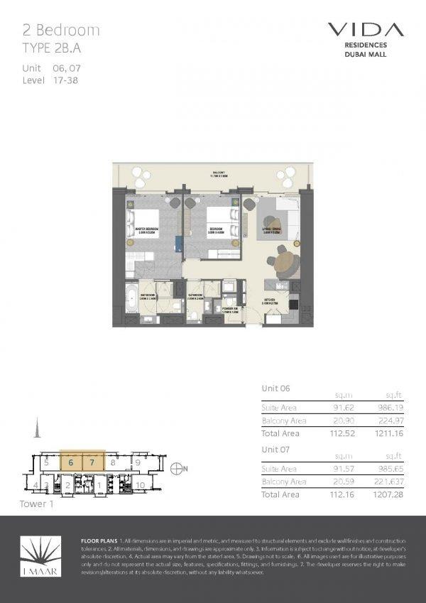 Vida Residences Dubai Mall 2 BR A 600x849 - Floor Plans - Vida Residences Dubai Mall