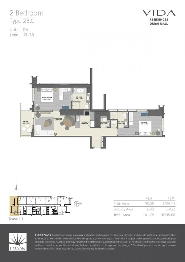 Vida Residences Dubai Mall 2 BR C 600x849 - Floor Plans - Vida Residences Dubai Mall