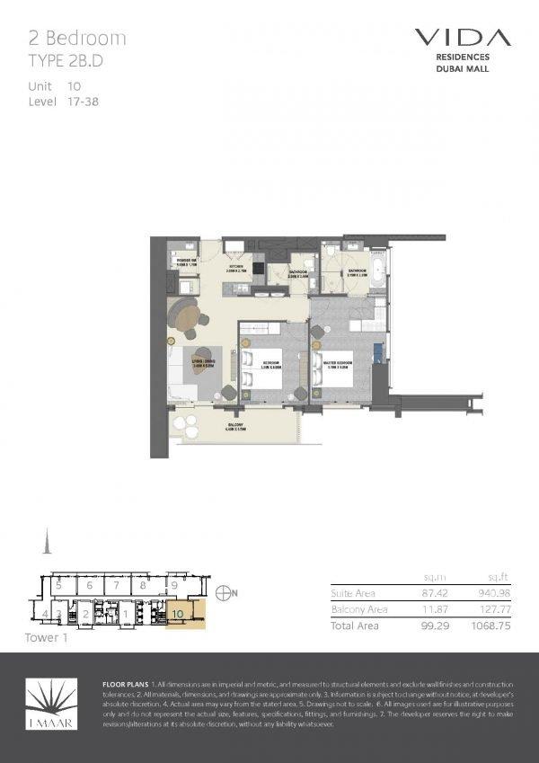 Vida Residences Dubai Mall 2 BR D 600x849 - Floor Plans - Vida Residences Dubai Mall