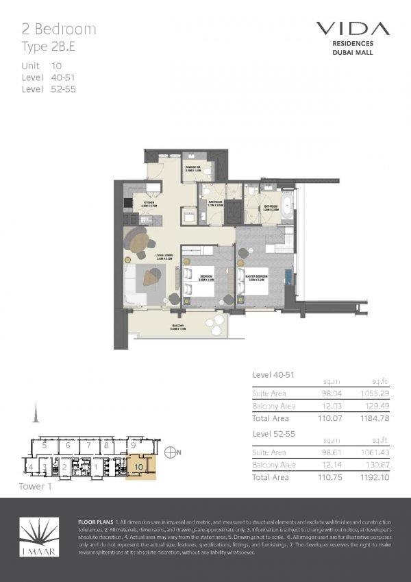 Vida Residences Dubai Mall 2 BR E 600x849 - Floor Plans - Vida Residences Dubai Mall