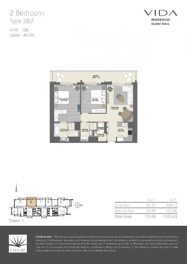 Vida Residences Dubai Mall 2 BR F 600x849 - Floor Plans - Vida Residences Dubai Mall