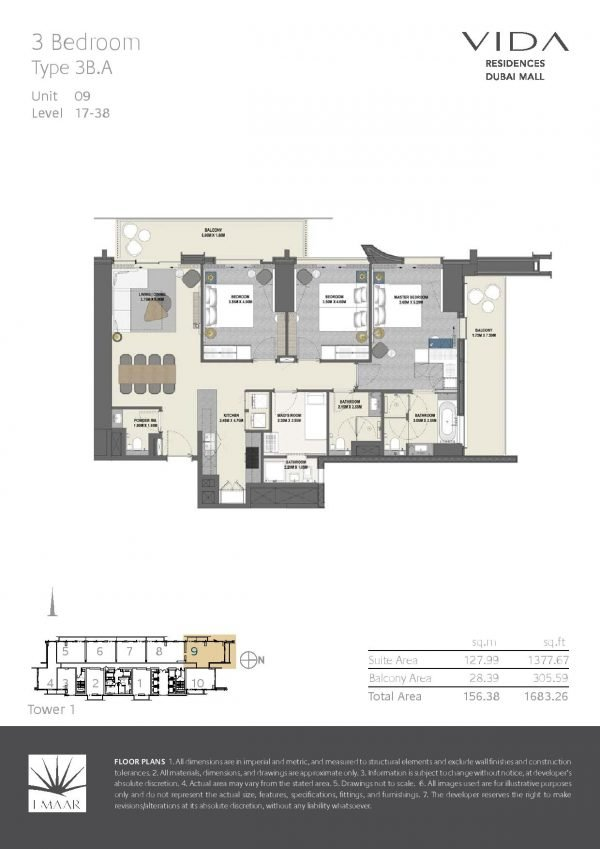 Vida Residences Dubai Mall 3 BR A 600x849 - Floor Plans - Vida Residences Dubai Mall