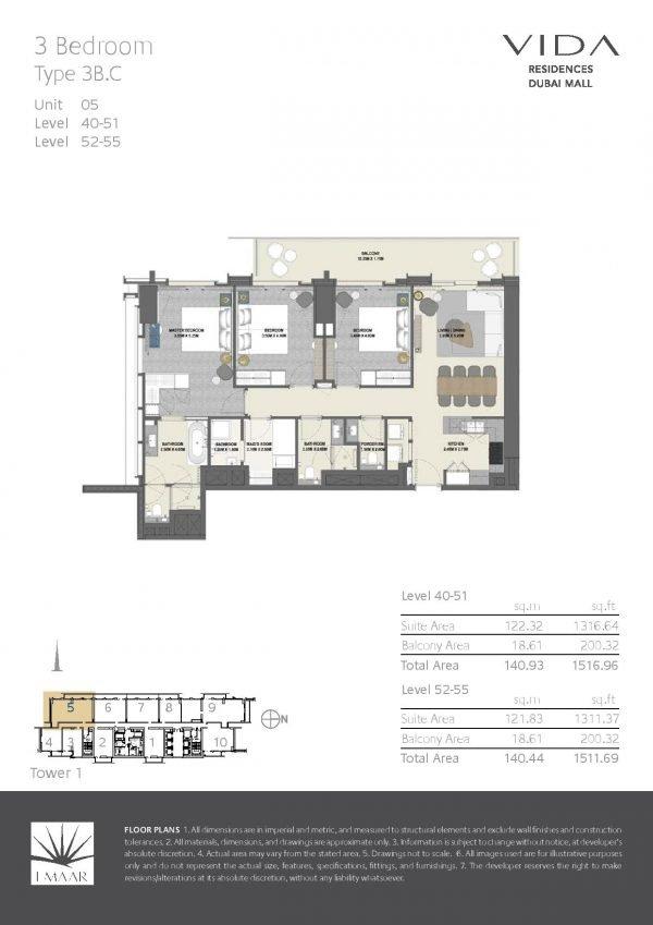 Vida Residences Dubai Mall 3 BR C 600x849 - Floor Plans - Vida Residences Dubai Mall