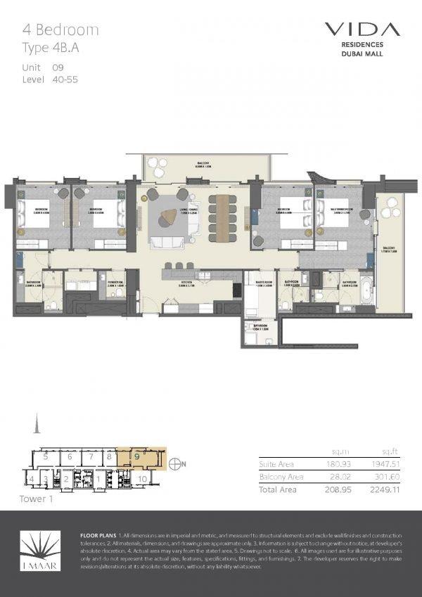Vida Residences Dubai Mall 4 BR A 600x849 - Floor Plans - Vida Residences Dubai Mall