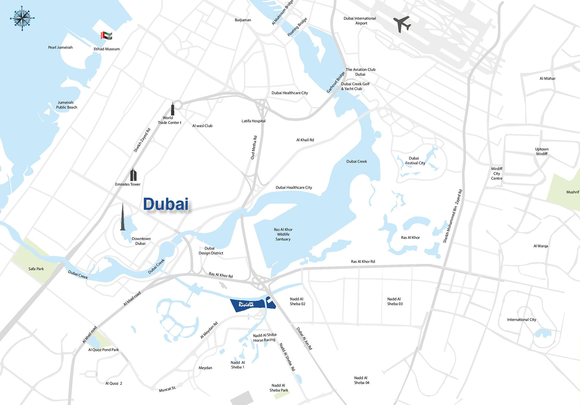 Azizi Riviera - Location Map - Dubai OFF Plan Properties on