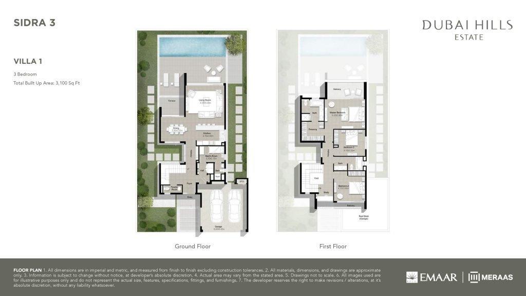 Sidra 3 Villa 1 3Bedroom 1024x576 - Sidra 3 - Floor Plans