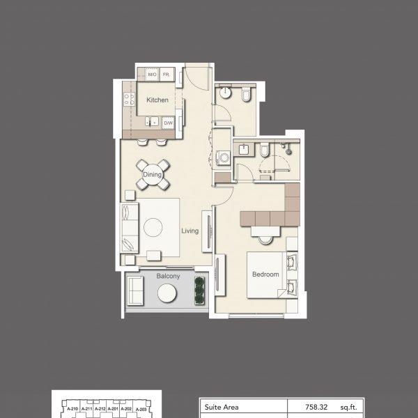 1BR Type1 600x600 - Wilton Terraces 1 - Floor Plans