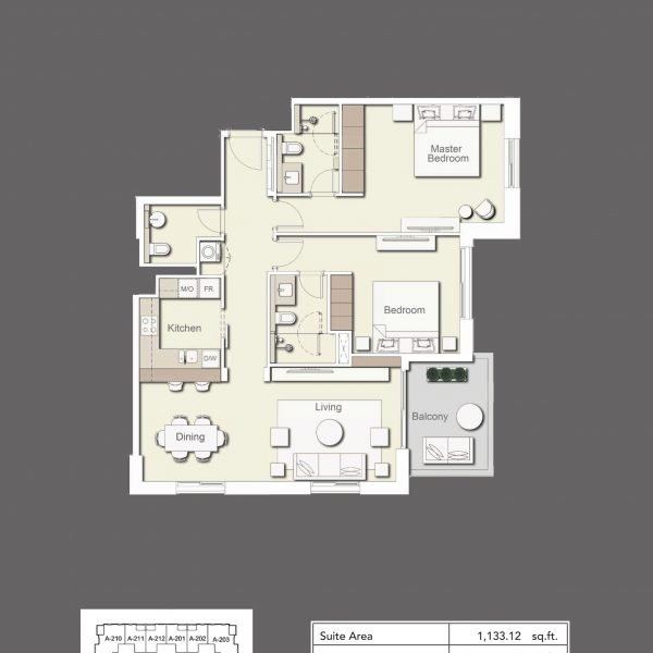2BR Type1 600x600 - Wilton Terraces 1 - Floor Plans