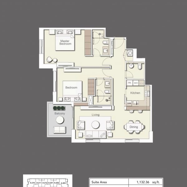 2BR Type2 600x600 - Wilton Terraces 1 - Floor Plans
