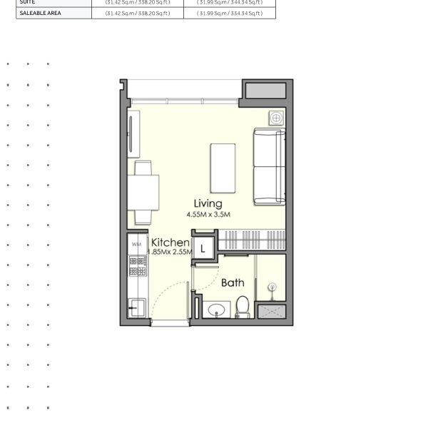 UNA Town Square Studio 1 600x600 - UNA Town Square - Floor Plans