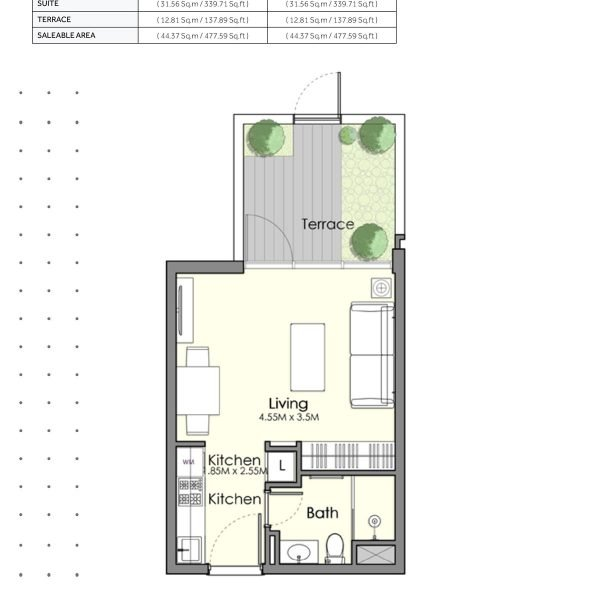 UNA Town Square Studio 3 600x600 - UNA Town Square - Floor Plans