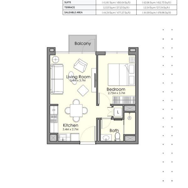 UNA Town Square page 1 BR 2 600x600 - UNA Town Square - Floor Plans