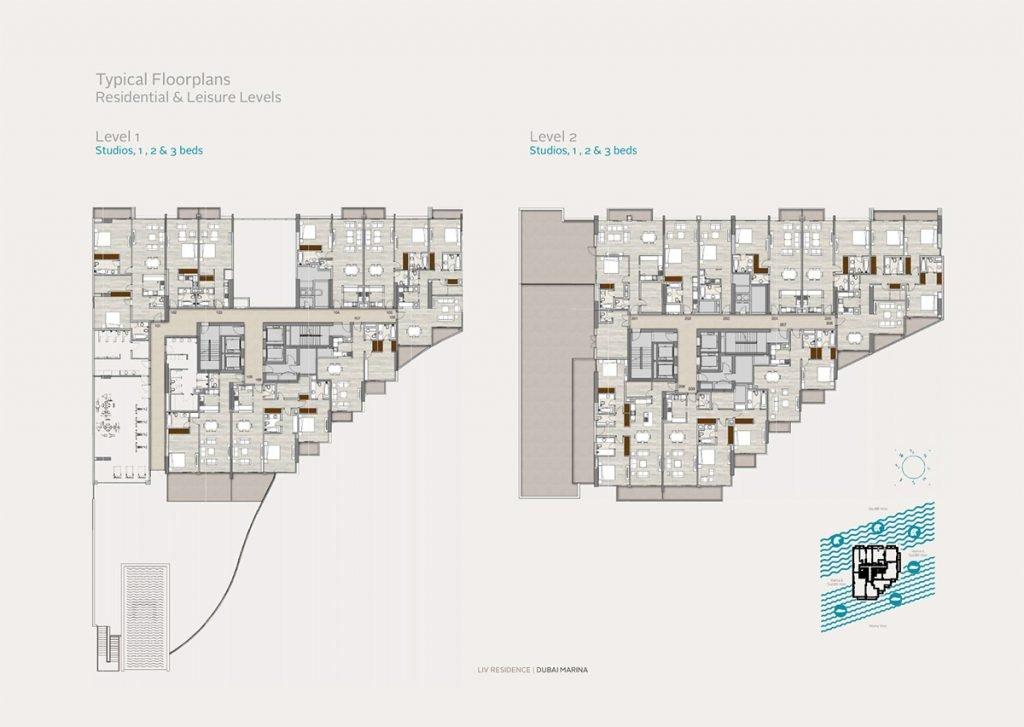 liv residence dubai marina 16 1024x727 - Floor Plans - LIV Residence