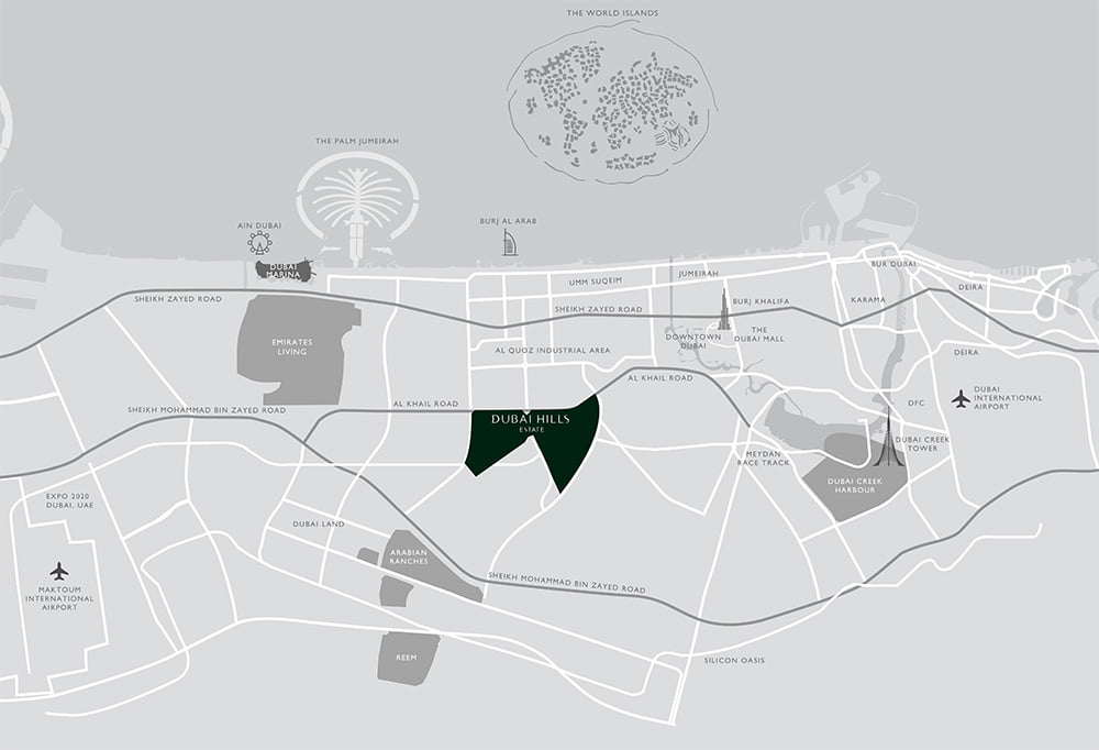 location map 1 - Golf Place at Dubai Hills By Emaar