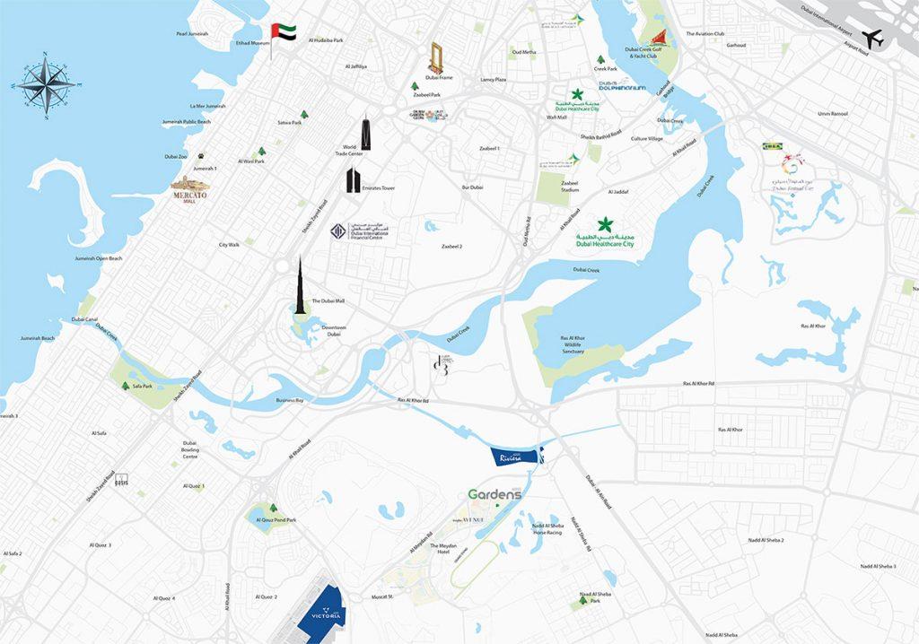 Azizi Garden location map 1024x718 - Azizi Gardens at Meydan Avenue