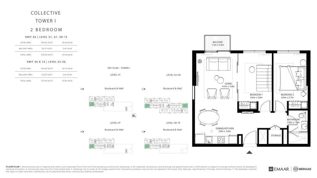 DHE COLLECTIVE FLOORPLANS T1 Page 6 1024x576 - Collective at Dubai Hills Estate - Floor Plans