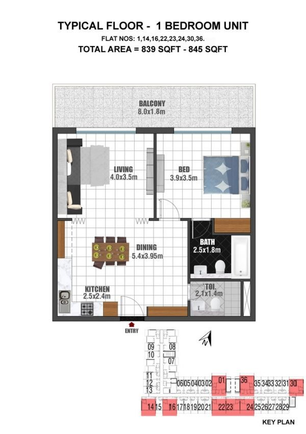 TYPE 2 - 1BED UNIT TYPICAL