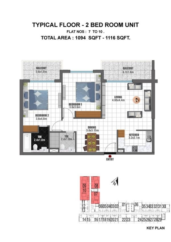 TYPE 3 2BED UNIT TYPICAL 600x849 - Jewelz by Danube - Floor Plans