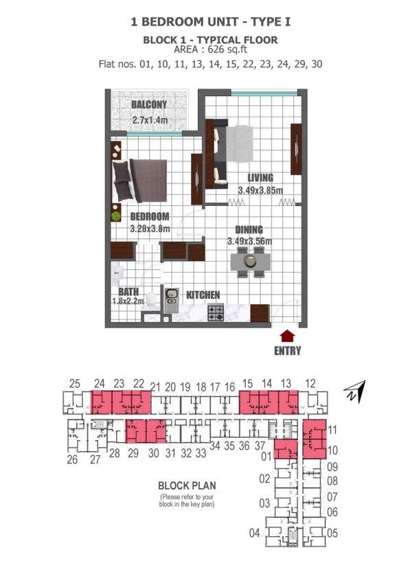 BLOCK 1 1 BED 1 key 600x849 - Lawnz by Danube - Floor Plans