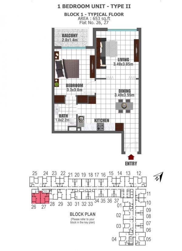 BLOCK 1 1 BED 2 key 600x829 - Lawnz by Danube - Floor Plans