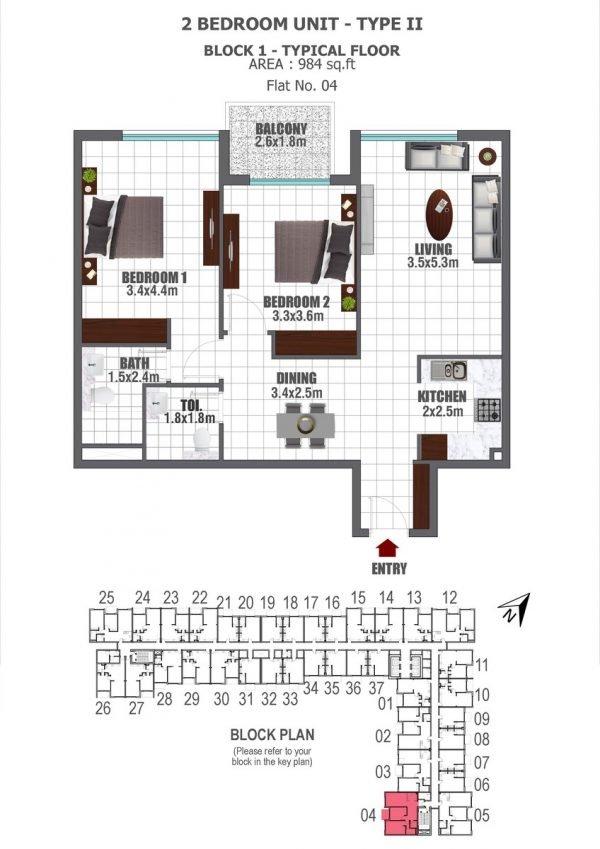 BLOCK 1 2 BED 2 key 600x849 - Lawnz by Danube - Floor Plans