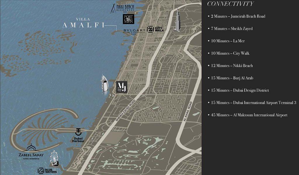 villa amalfi location map 1024x601 - Villa Amalfi in Jumeirah Bay