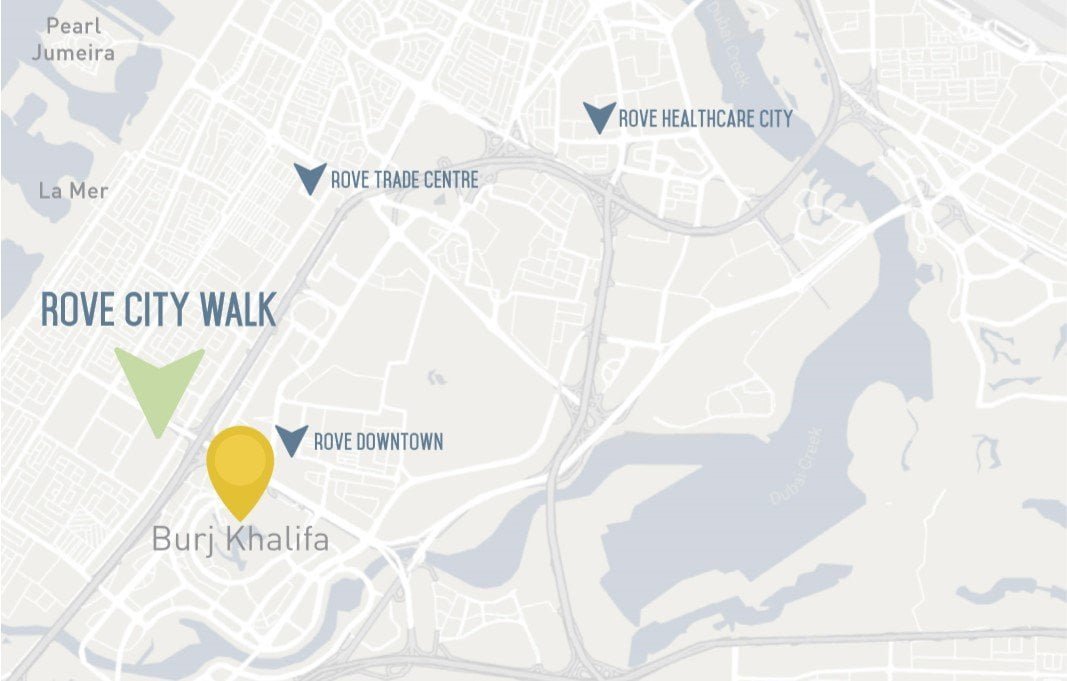 rove city walk location map