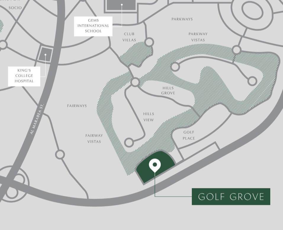 Golf Grove location map - Golf Grove at Dubai Hills Estate by Emaar