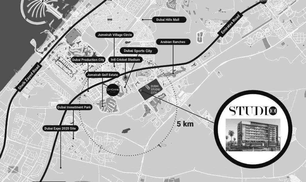Studio 101 Location Map 1024x610 - Studio 101 at Dubai Studio City