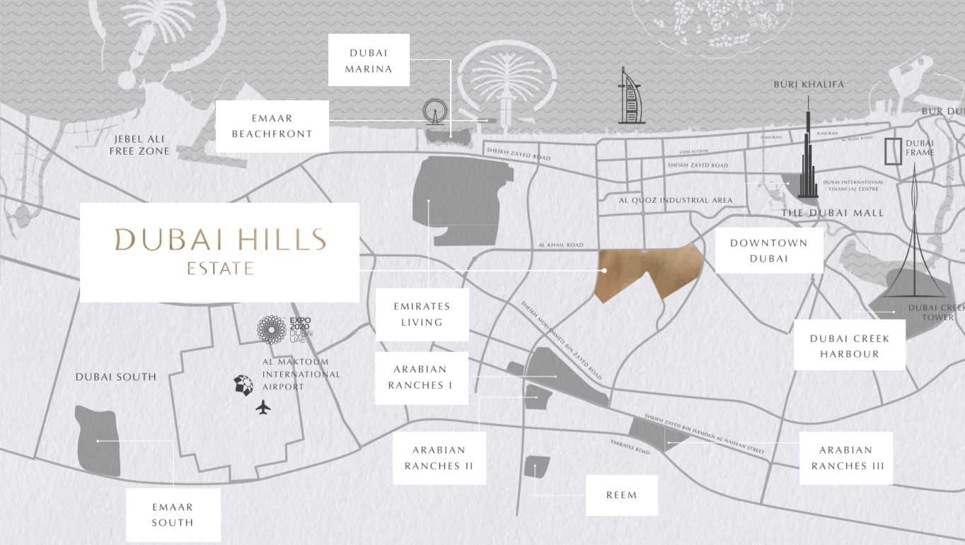 Majestic Vistas location map - Majestic Vistas at Dubai Hills by Emaar