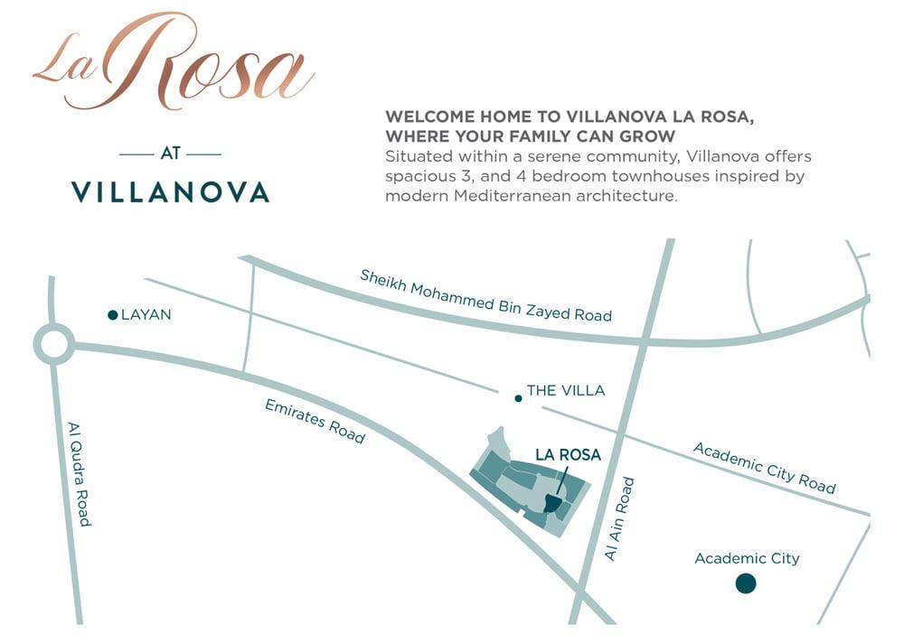 la rosa location map - La Rosa at Villanova by Dubai Properties