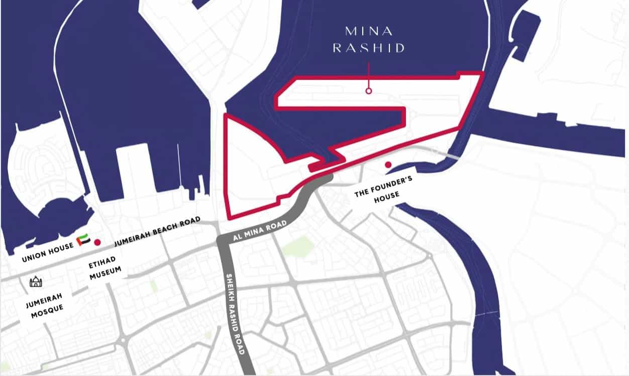 mina rashid locationmap - Sirdhana at Mina Rashid By DP World & Emaar