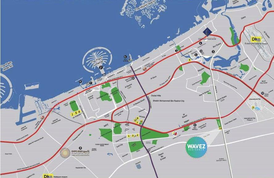 wavez location map - Wavez Residence by Danube Properties
