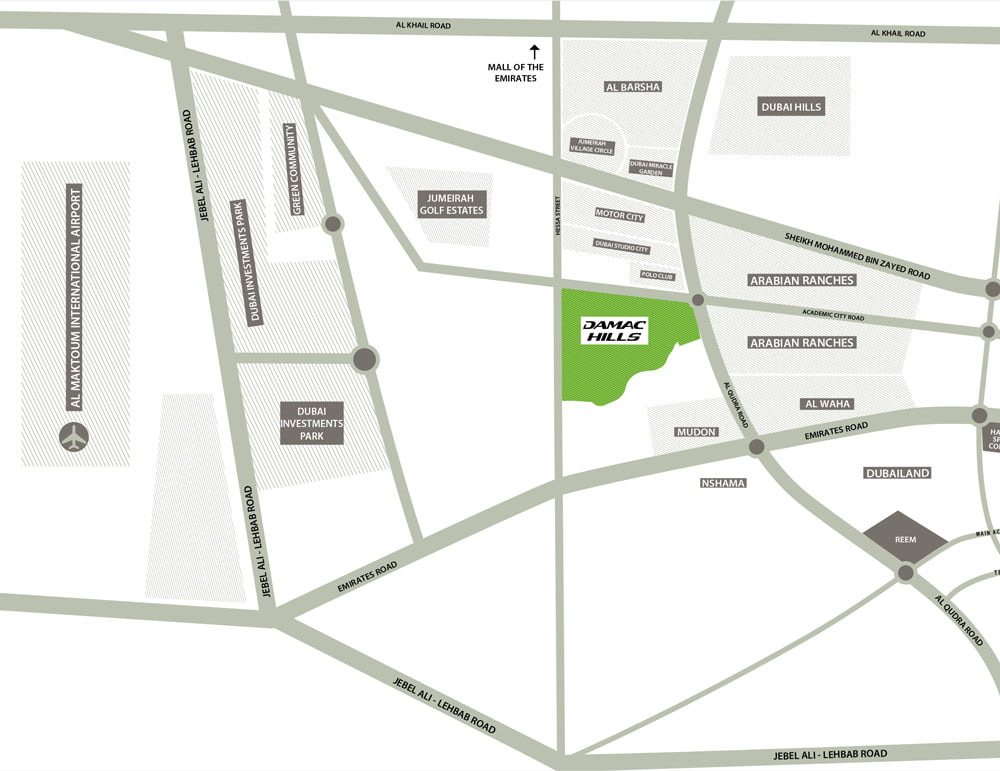 BellaVista damac hills location Map