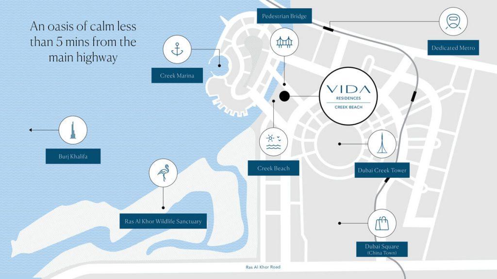 vida residences creek beach location map 1024x576 - Vida Residences at Creek Beach by Emaar