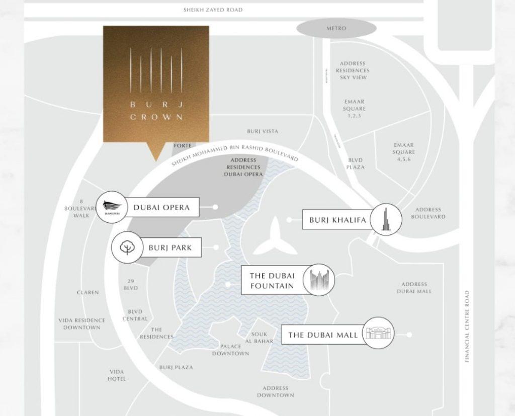 харитаи ҷойгиршавӣ Burj Crown
