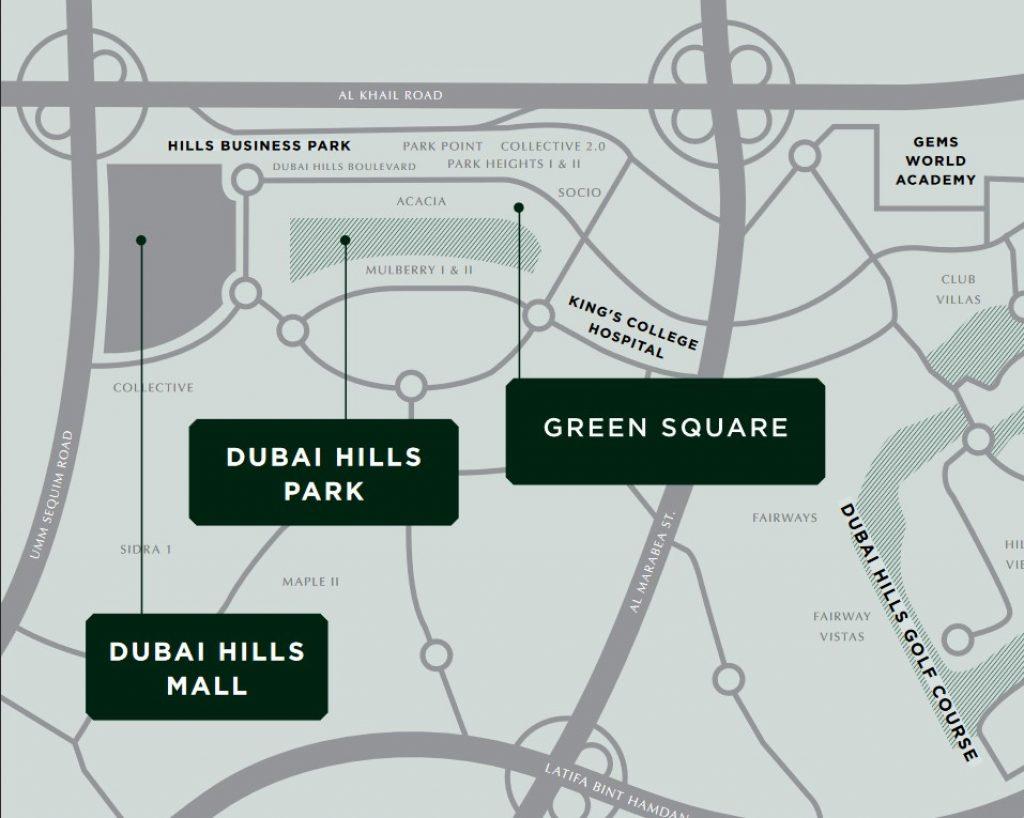 Green Square in Dubai Hills Estate Location Map