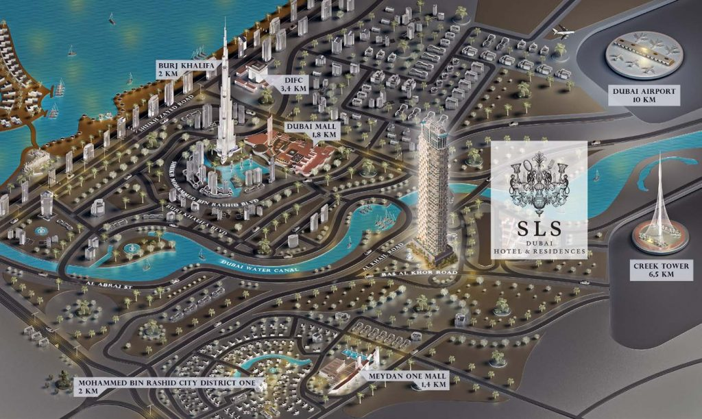 SLS Dubai Hotel Residences Map 1024x611 - SLS Dubai Hotel & Residences