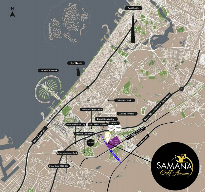 samana golf avenue location - Samana Golf Avenue at Dubai Studio City