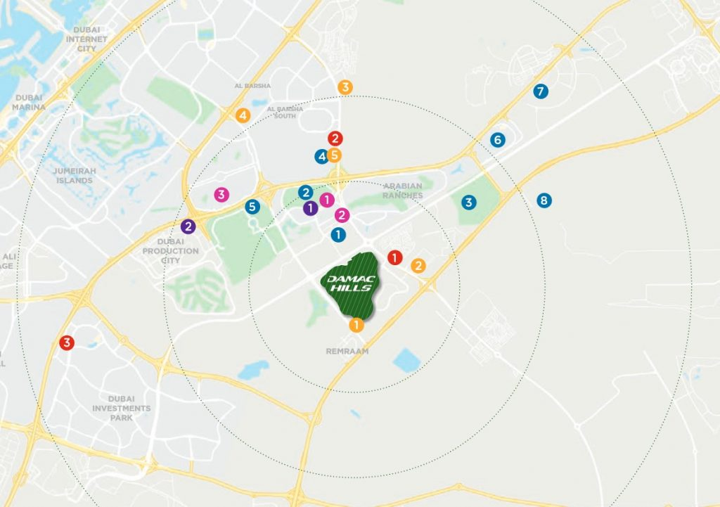 location map melrose 1024x721 - Melrose Limited Edition Golf Villas by Damac